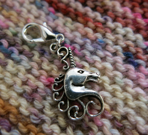 silver alloy unicorn charm stitch marker for knitting and crochet