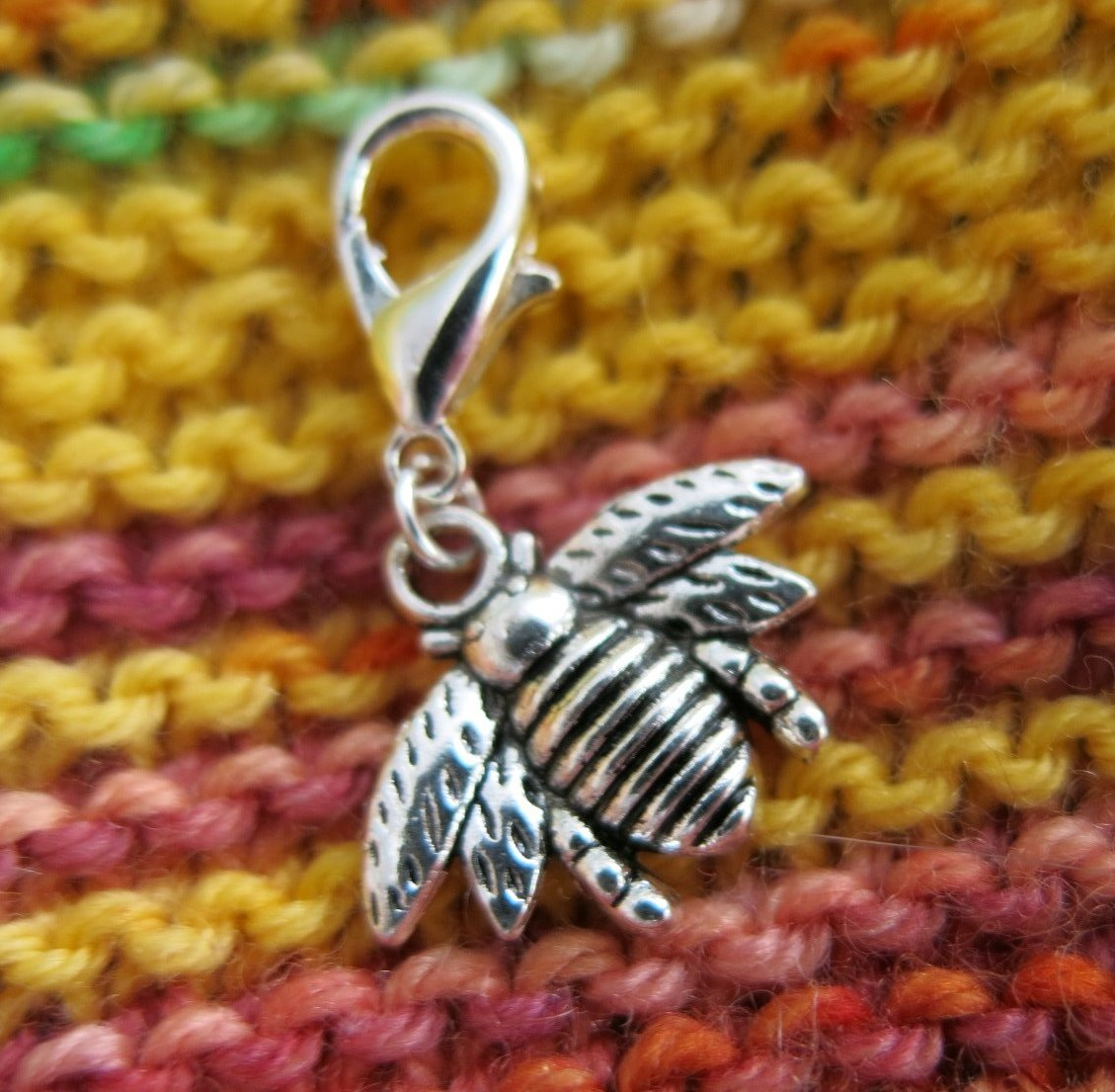 silver bumble bee place keeper stitch marker for knitting and crochet