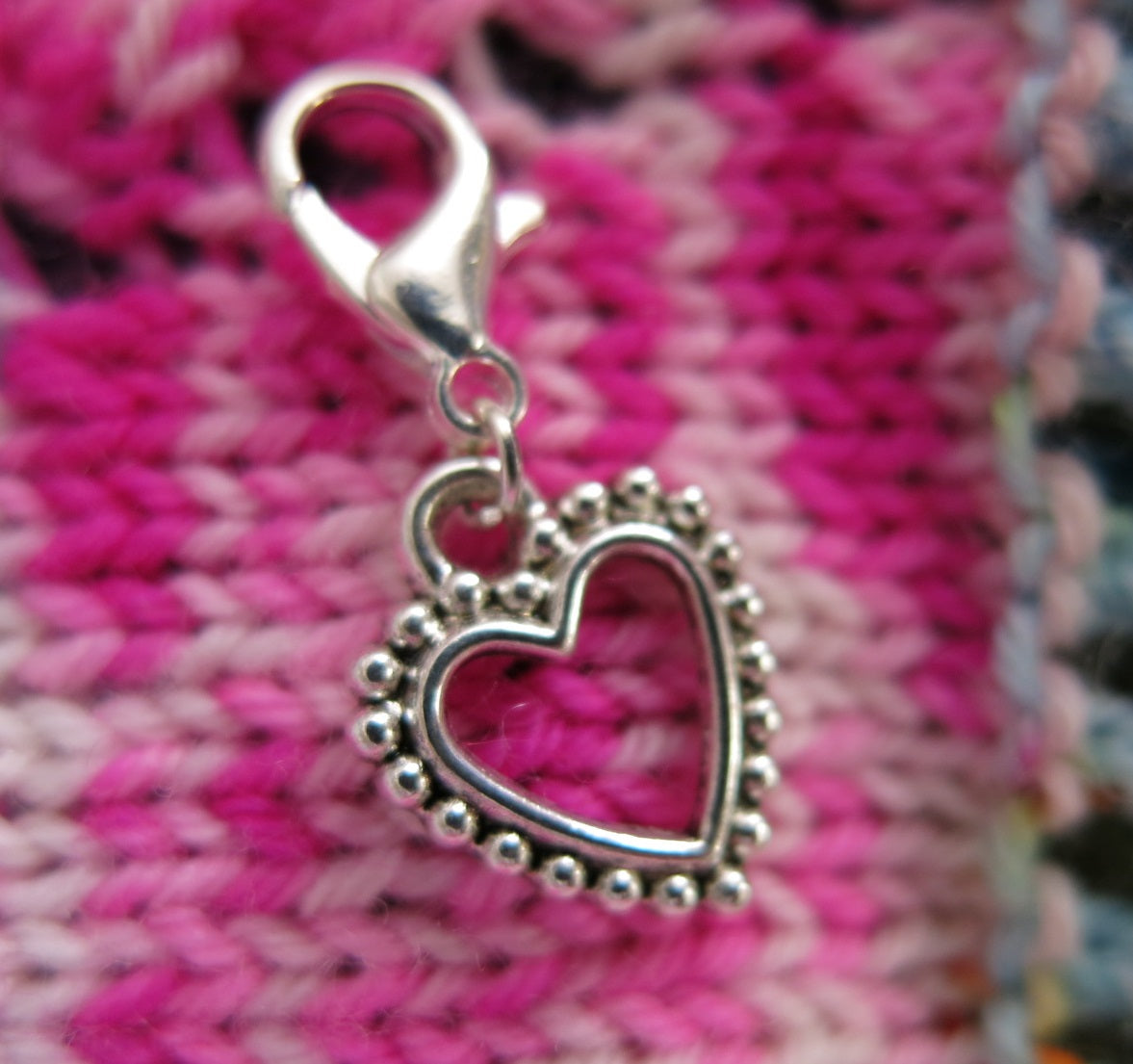 silver valentine heart charm place keeper for knitting and crochet projects