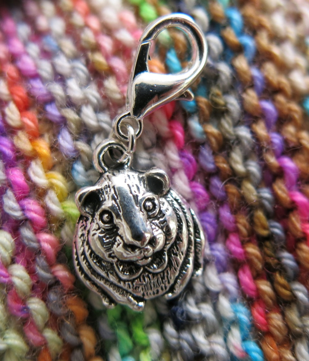silver guinea pig charm place keeper for knitting and crochet