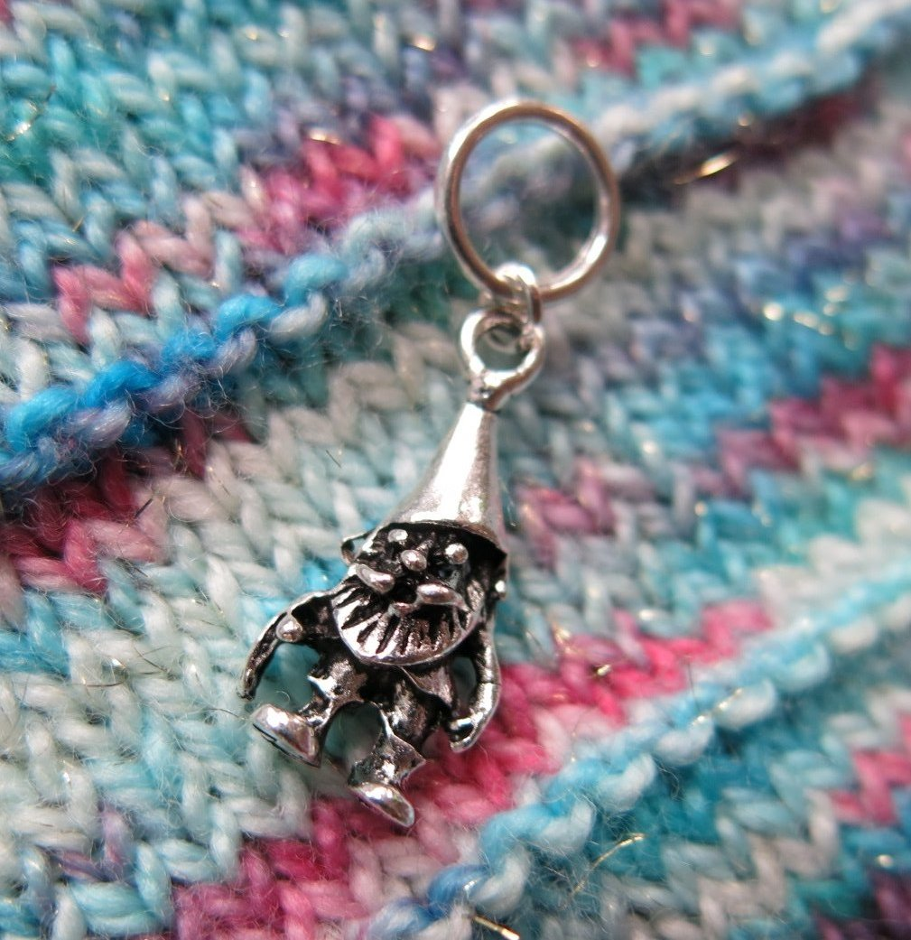3d gnome 7 dwarves charm on a snagless ring for knitting
