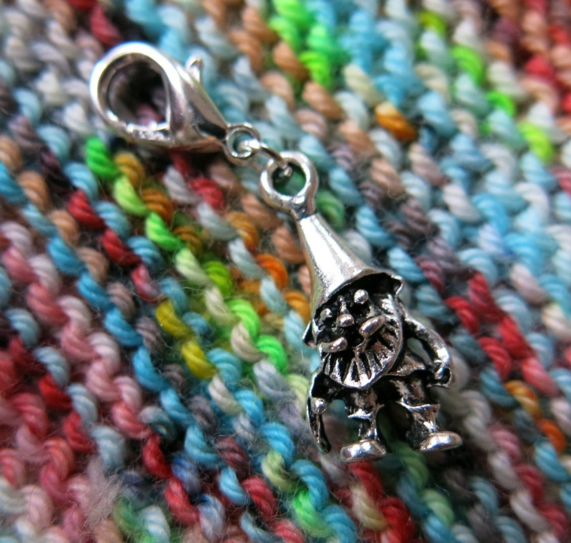 3d gnome charm on a clasp for bags, zippers, crochet and bracelets