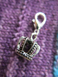 3d crown hanging charm stitch marker on a clasp