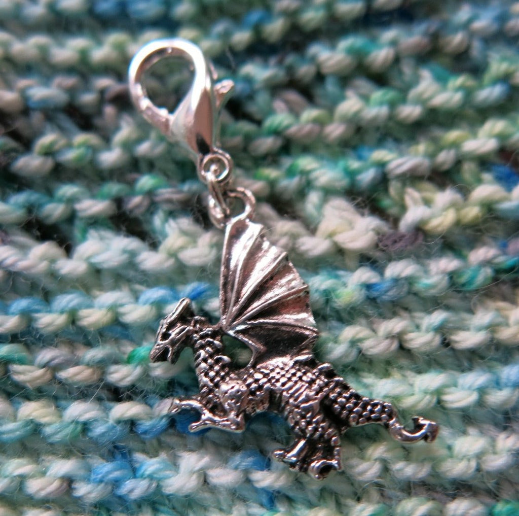 silver dragon charm for bracelets, zippers, bags and crochet