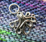 silver octopus charm on a snagless jump ring for knitting