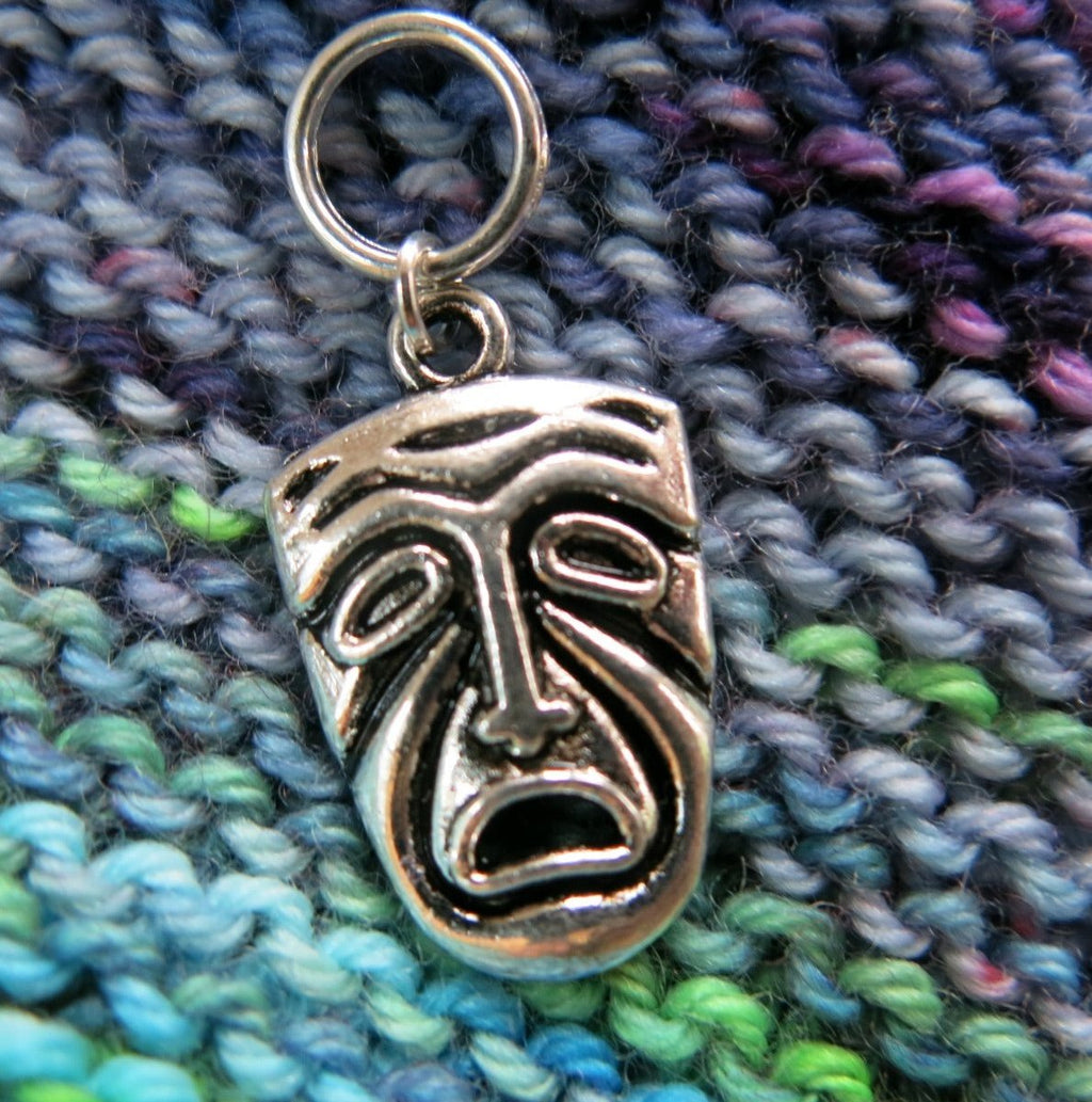 silver theatrical mask charm stitch marker for knitting
