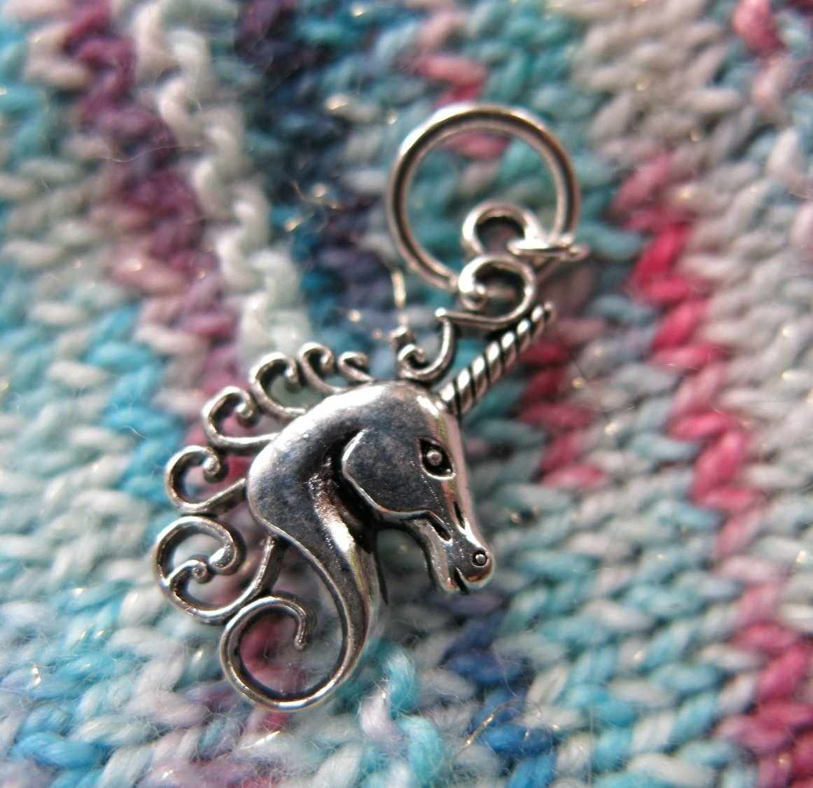 silver snagless unicorn stitch marker for knitting projects