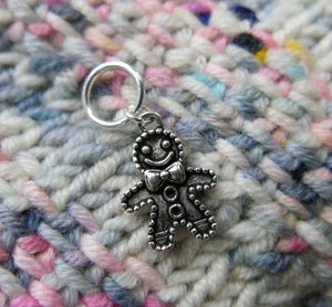 gingerbread man snagless stitch marker for knitting projects
