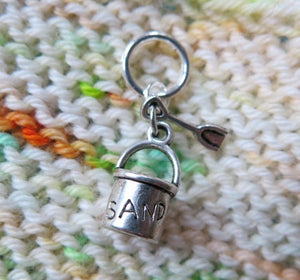 silver sand bucket charm for knitting and crochet