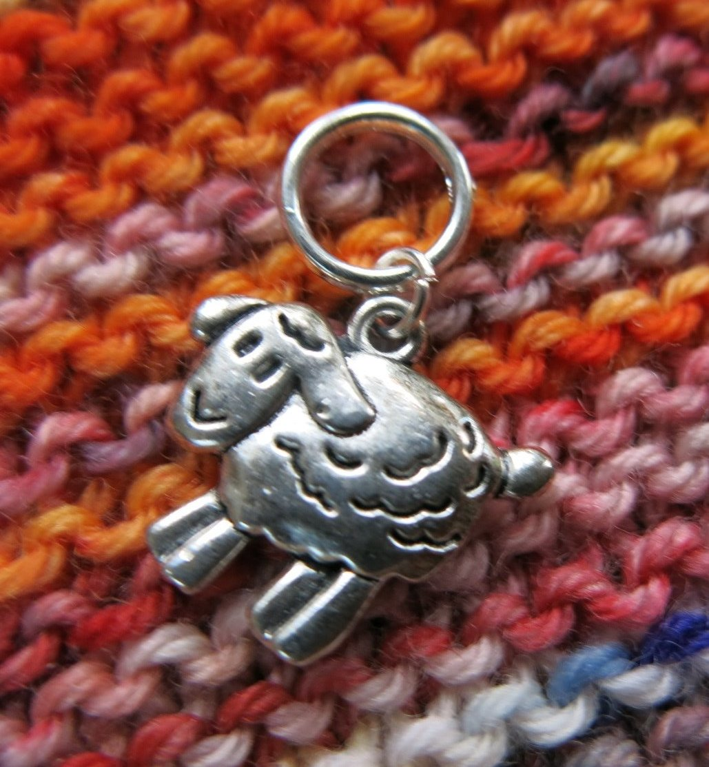 silver snagless sheep stitch marker for knitting projects and fiber swaps