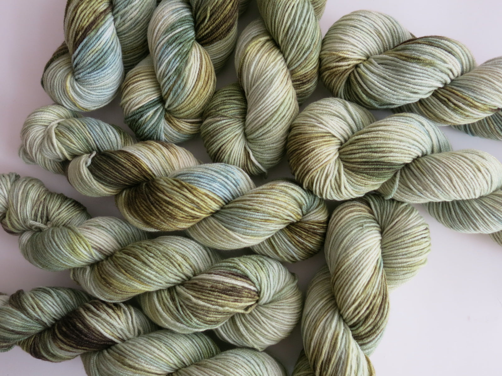 hand dyed tonal green yarn for knitting and crochet