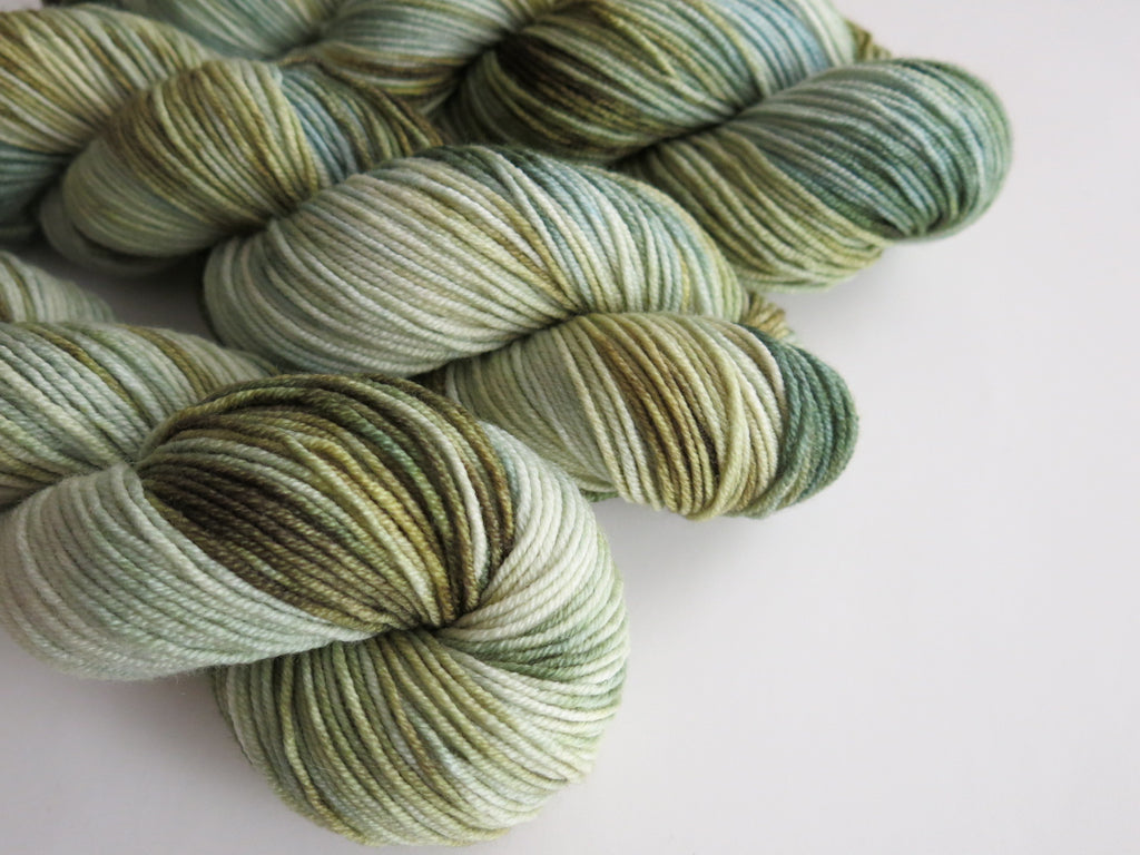 kettle dyed sea green 8 ply merino yarn skeins