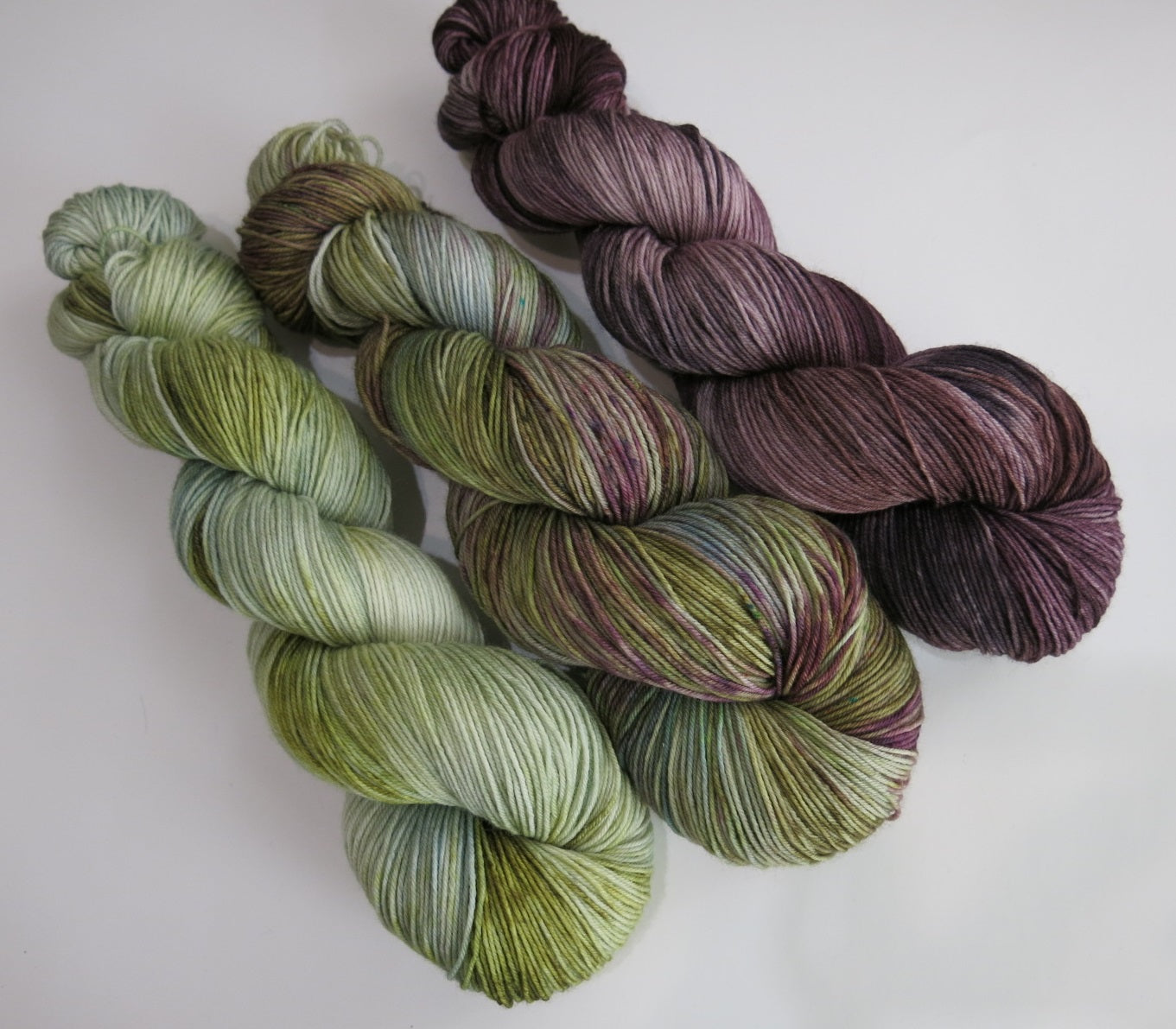 indie dyed three skein yarn combo set for knitting shawls