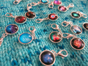 astronomy nebula hanging charms for bracelets, bags, crochet and knitting