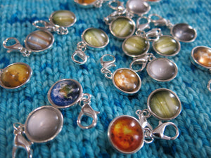 planet and moon charms on a 14mm lobster clasp