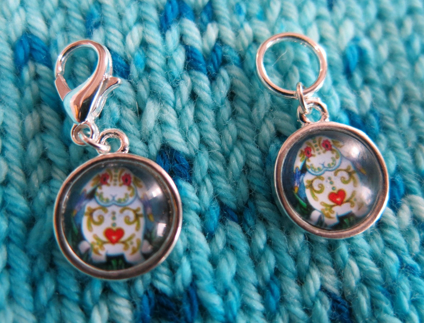 sugar skull rabbit charm on a clasp or snagless ring