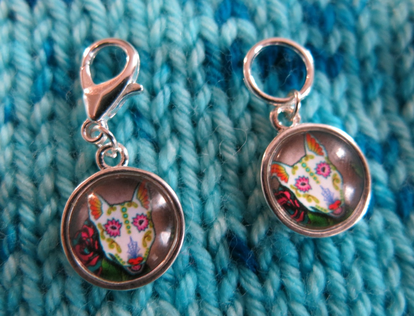 Day of the Dead Sugar Skull Pets Snagless Stitch Marker or Clasp Place Keeper