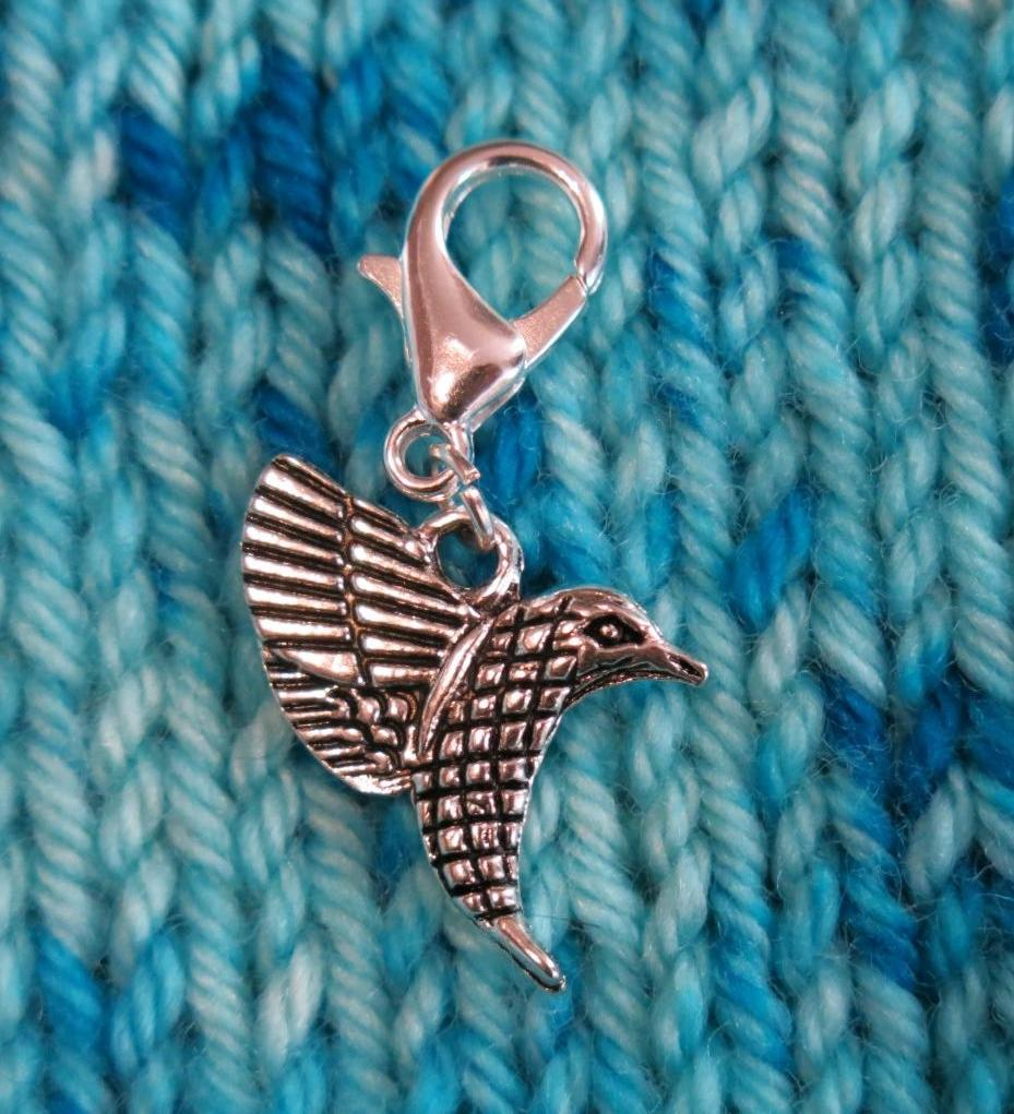 hanging hummingbird charm for crochet, friendship bracelets and bags
