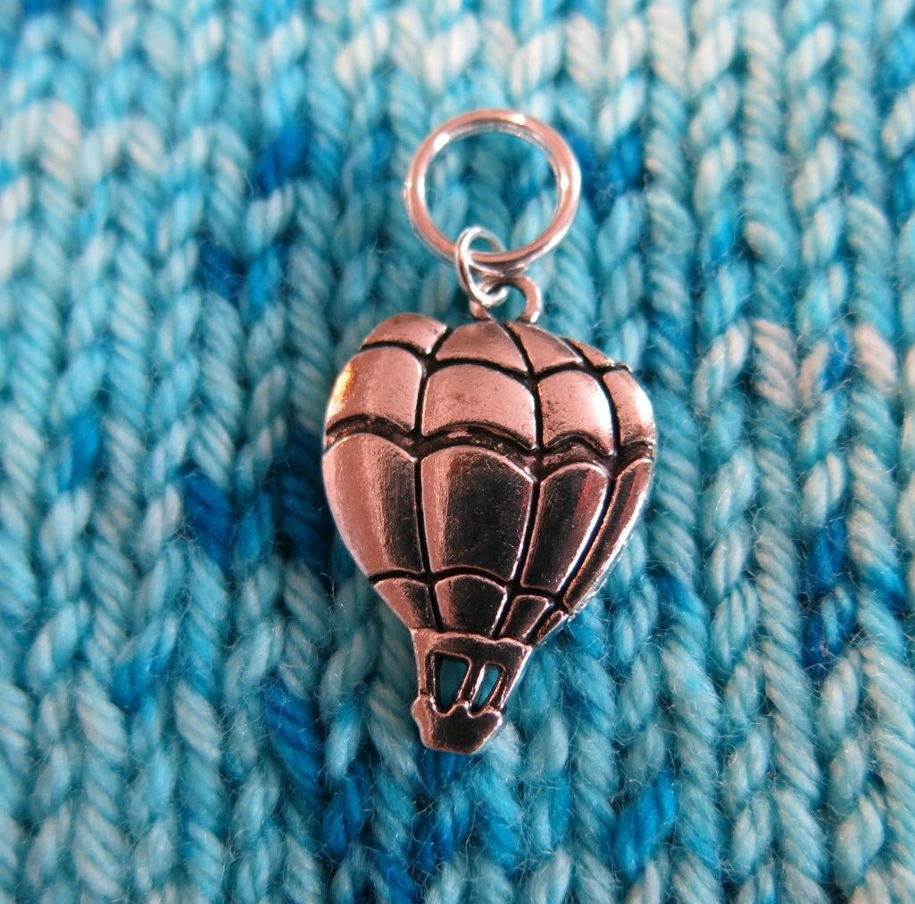 silver hot air balloon snagless stitch marker for knitting