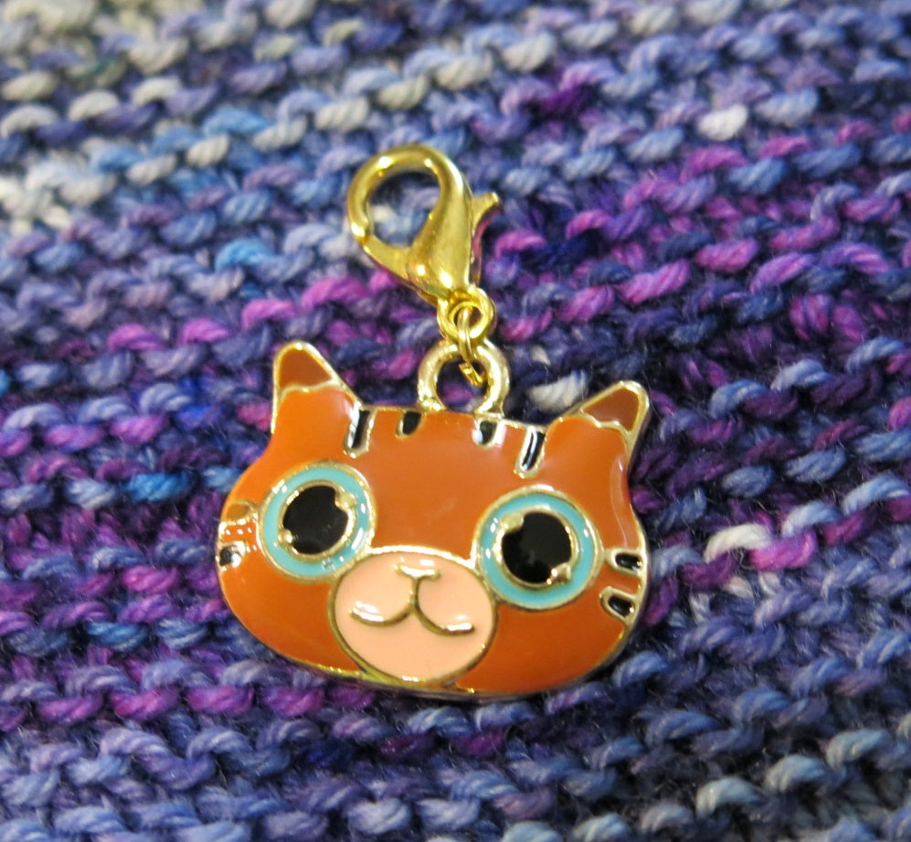 orange tabby cat enamel charm for bracelets, bags and crochet