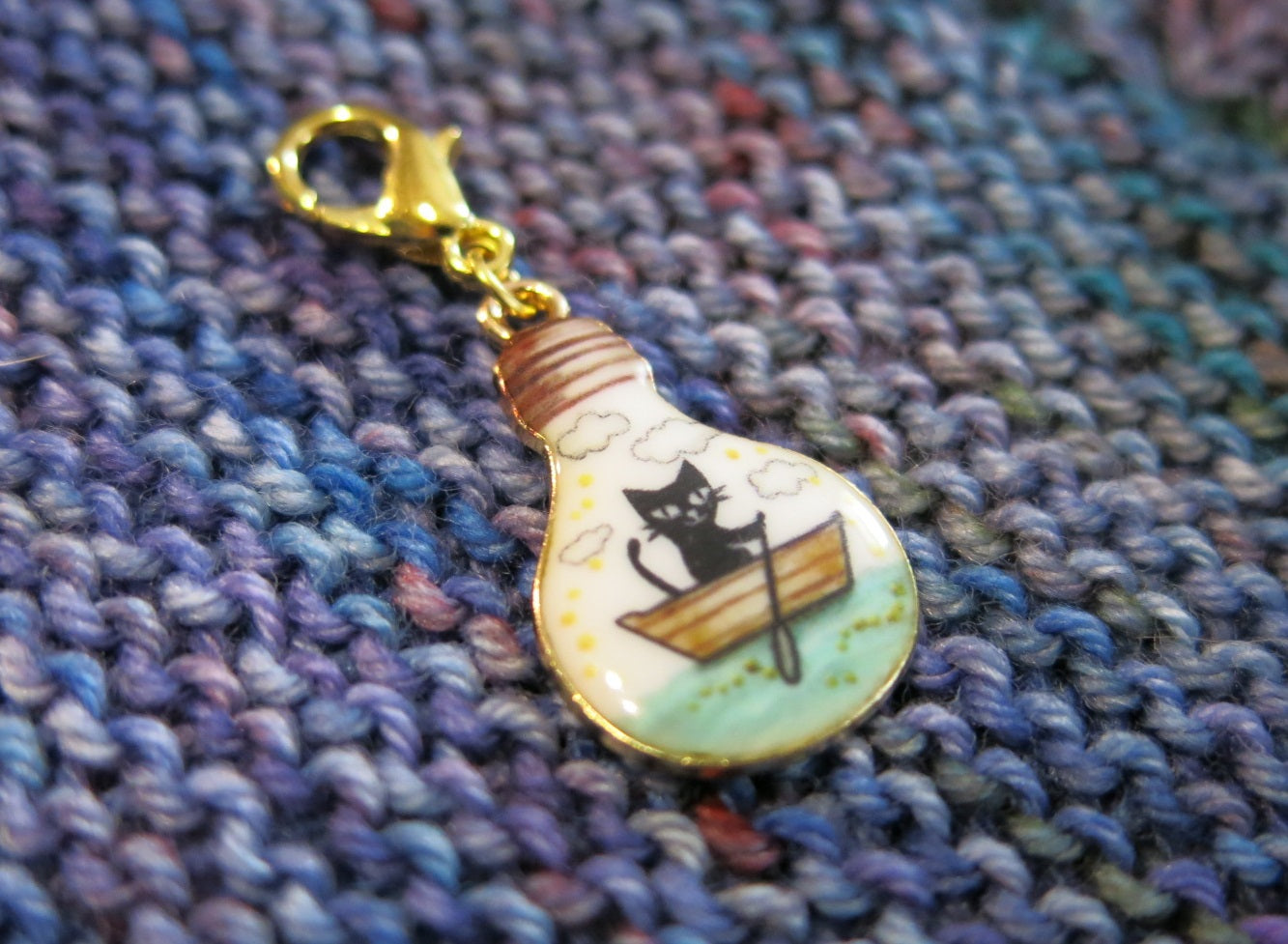 enamel black cat in a boat charm for bracelets or knitting