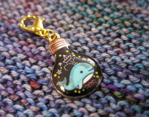 whale and constellations stitch marker clasp charm for knitting and crochet