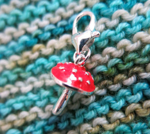 3D red mushroom fly agaric hanging charm for crochet, bracelets, bags and zippers