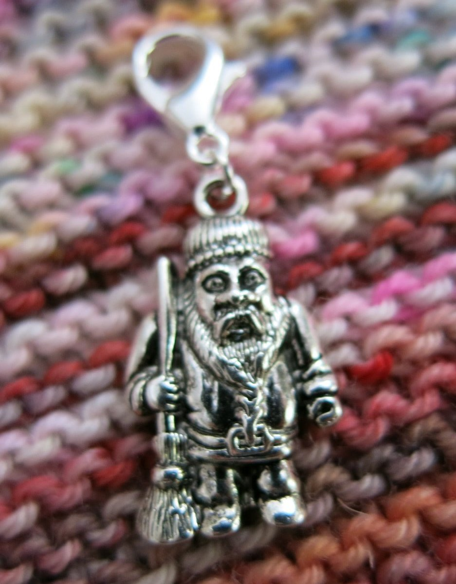 mand with a broom hanging charm for bracelets and crochet