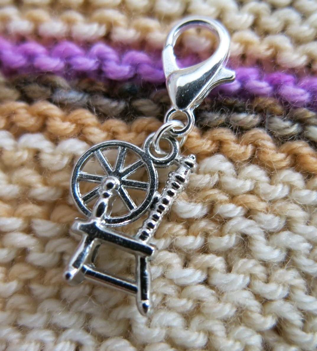 sleeping beauty spinning wheel charm for bracelets and crochet