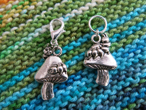 alice in wonderland caterpillar and mushroom hanging charm on a clasp