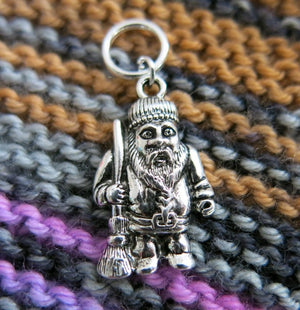 man with a broom snagless stitch marker for knitting projects