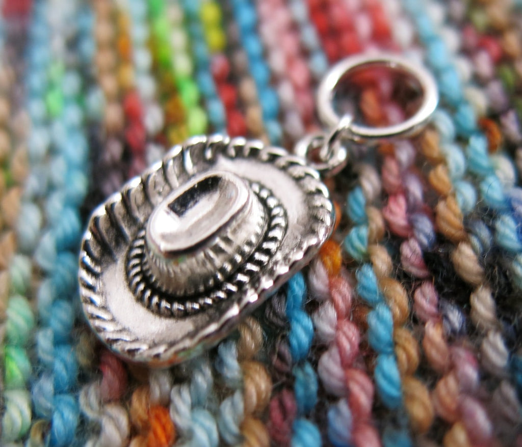 3D silver cowboy hat snagless stitch marker for knitting