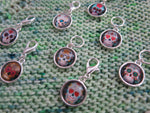 day of the dead cabochon hanging charms for bracelets, knitting and zippers