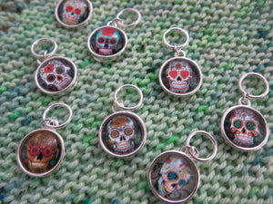 calavera sugar skull charms on a snagless silver jumpring for knitting