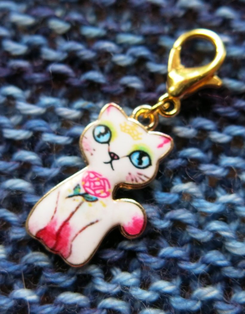 enamel cat and rose hanging charm for progress keeping crochet