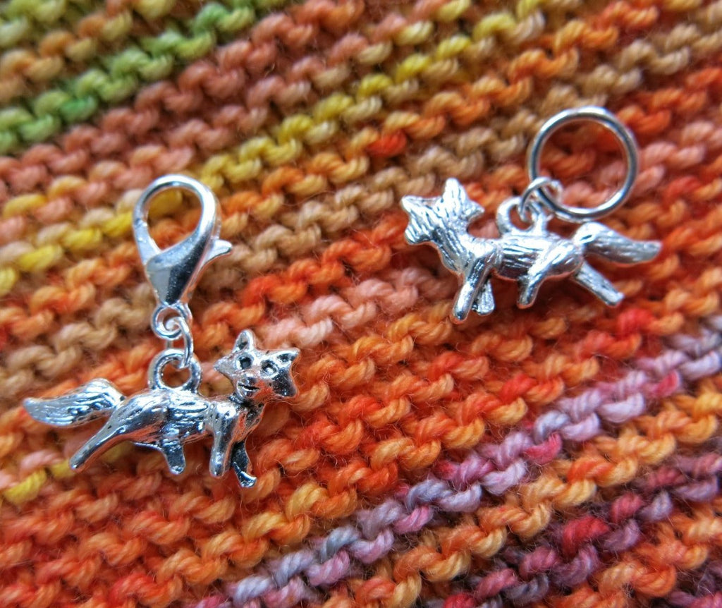 silver fox charm stitch markers and progress keepers for knitting and crochet