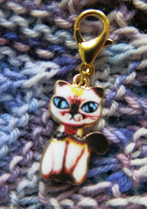 siamese cat stitch marker charm for knitting and crochet