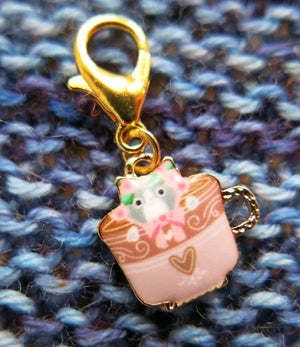 Tea Time Cats Stitch Marker or Clasp Place Keeper