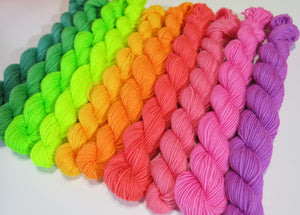 hand dyed solid neon sock yarn mini skeins for shawls and socks