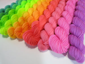indie dyed fluorescent mini skein rainbow yarn for knitting