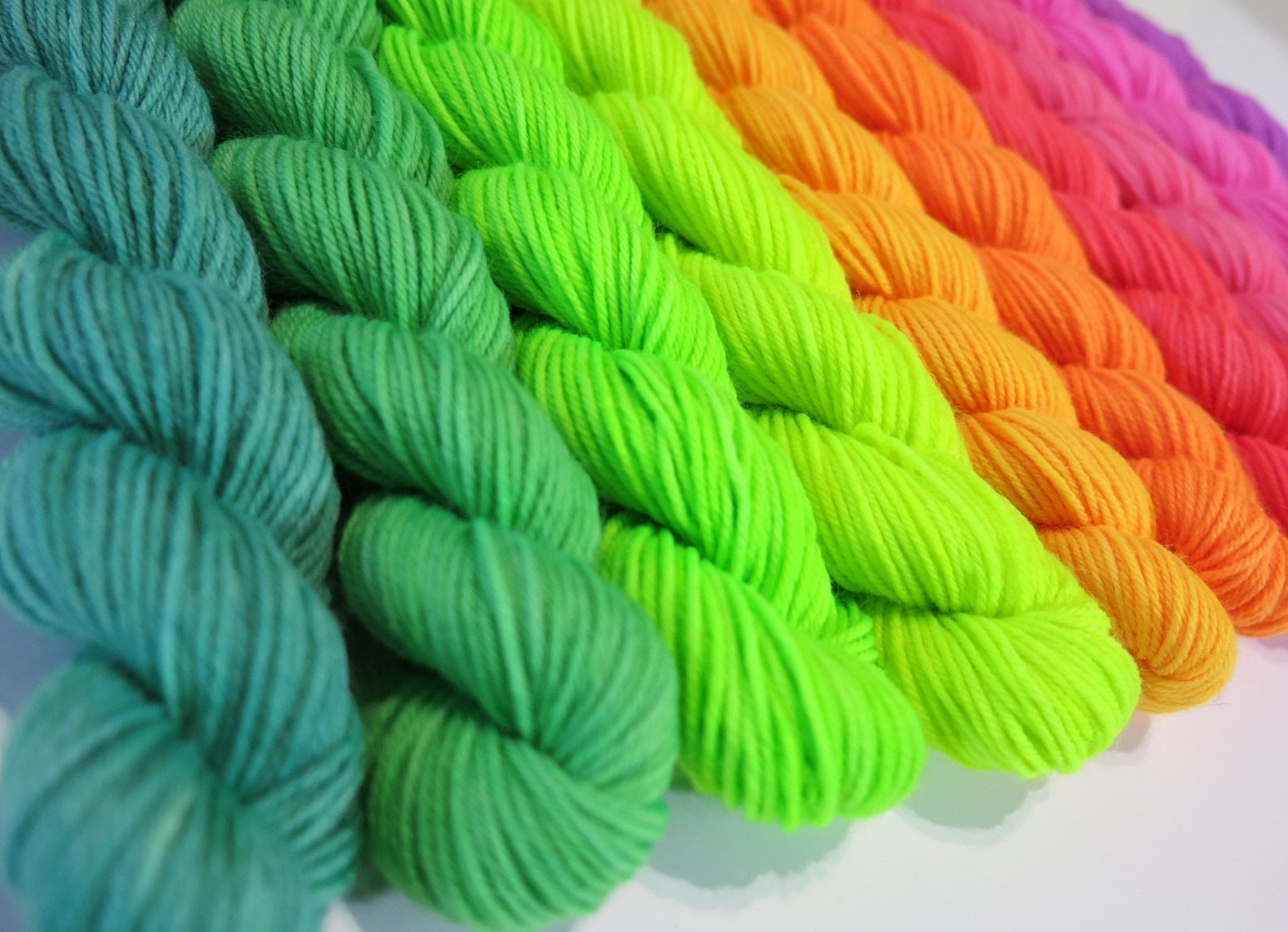 ten 20g uv neon rainbow mini skeins for knitting and crochet
