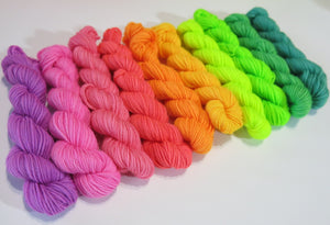 set of ten 10g rainbow sock yarn mini skeins for knitting and crochet