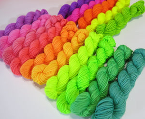15 10g black light uv sock yarn mini skeins by my mama knits