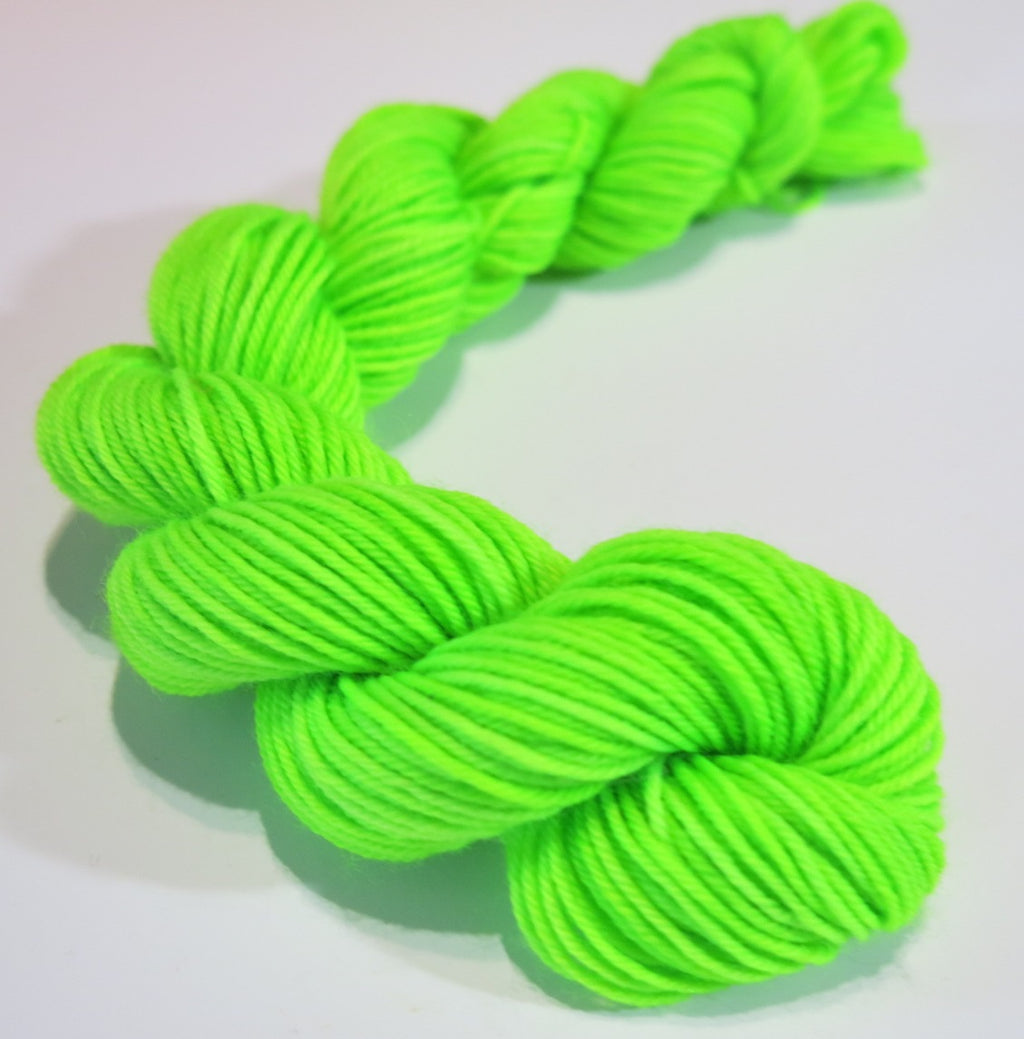 20g mini skein in neon green for sock, shawl and blanket knitting