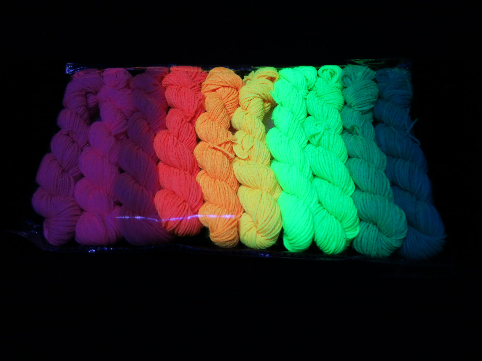 fluorescent black light yarns by indie dyer my mama knits