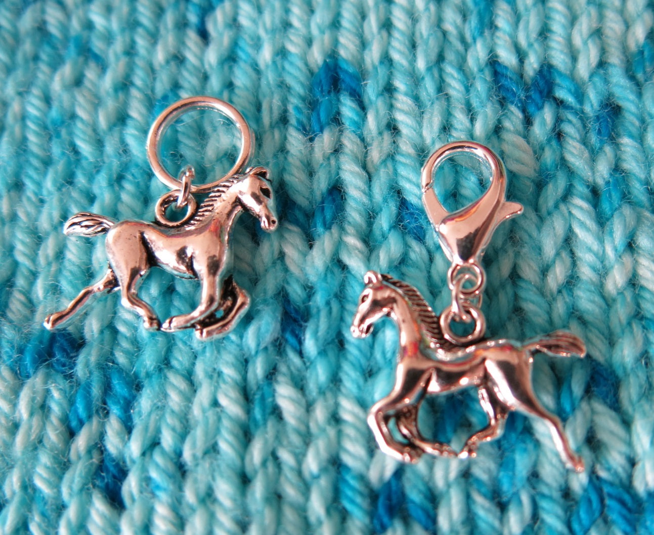 silver alloy horse charms for knitting and crochet