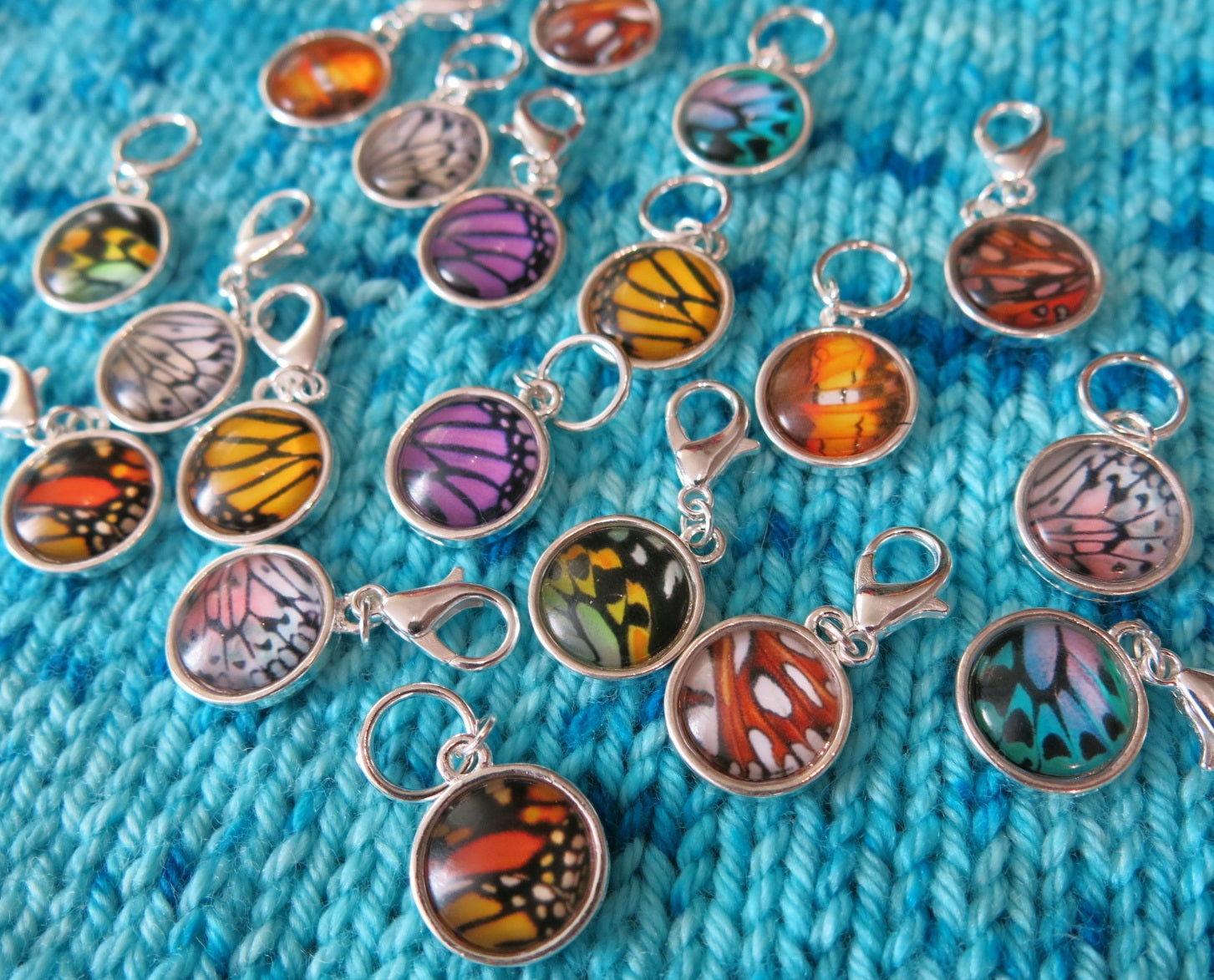 butterfly wing progress keeper stitch markers for knitting and crochet