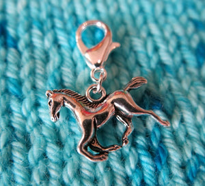hanging horse charm progress keepers for knitting and crochet
