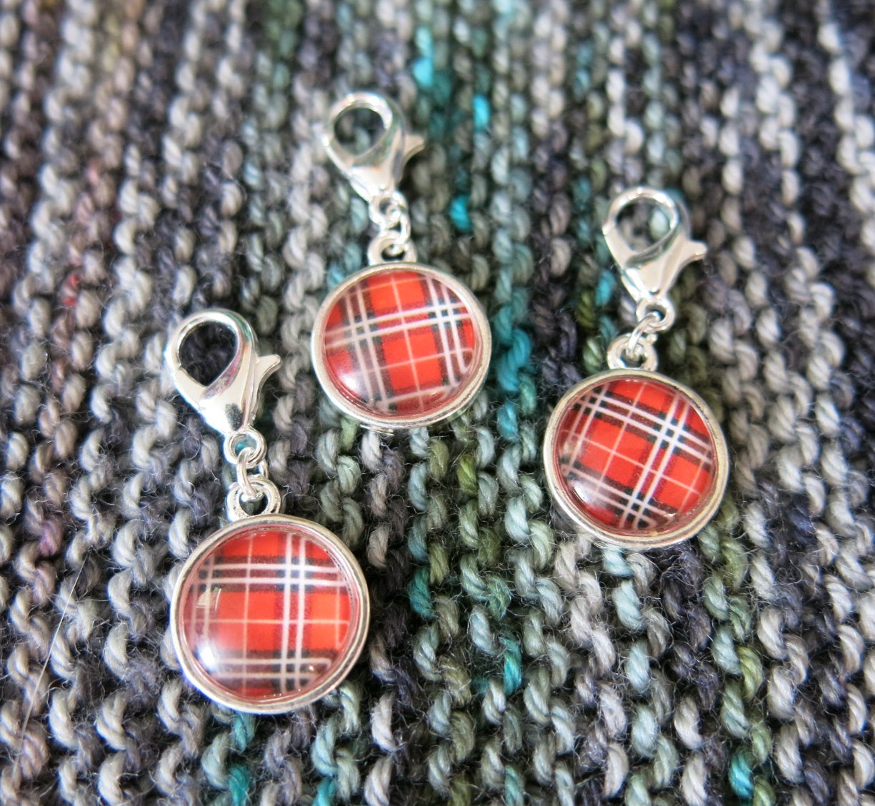 hand assembled scottish tartan clasp progress keepers for knitting and crochet