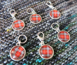 red tartan hanging chrams for zippers, bracelets and bags